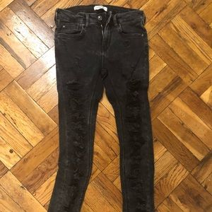 Zara Black Faded Wash Denim Distressed Jeans